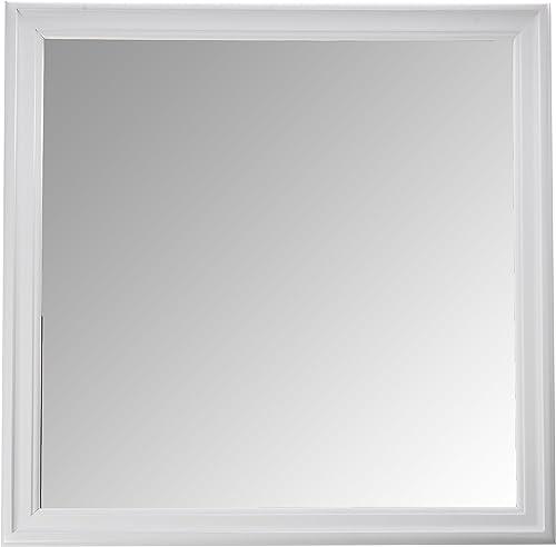 Coaster Home Furnishings Louis Phillipe Beveled Edge Square White Mirror