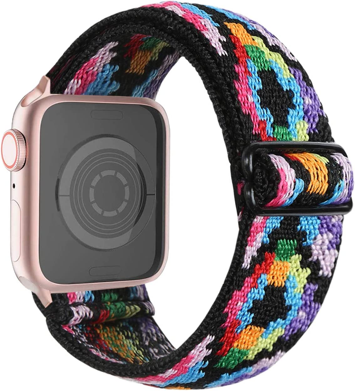 CRAZITAYA Adjustable Elastic Band Compatible for Apple Watch Band Accessories 38mm 40mm 42mm 44mm, Stretchy Sport Loop Strap Suitable for iWatch Series SE/6/5/4/3/2/1(Boho Multicolor, 38mm/40mm)