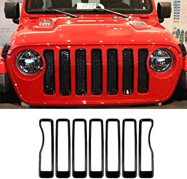 Matte Black 1 Year Warranty Headlight Turn Light Cover Trim for 2018 Jeep Wrangler JL Sport//Sports Accessories FieryRed 2018-2020 Jeep Wrangler JL Mesh Grille Grill Insert