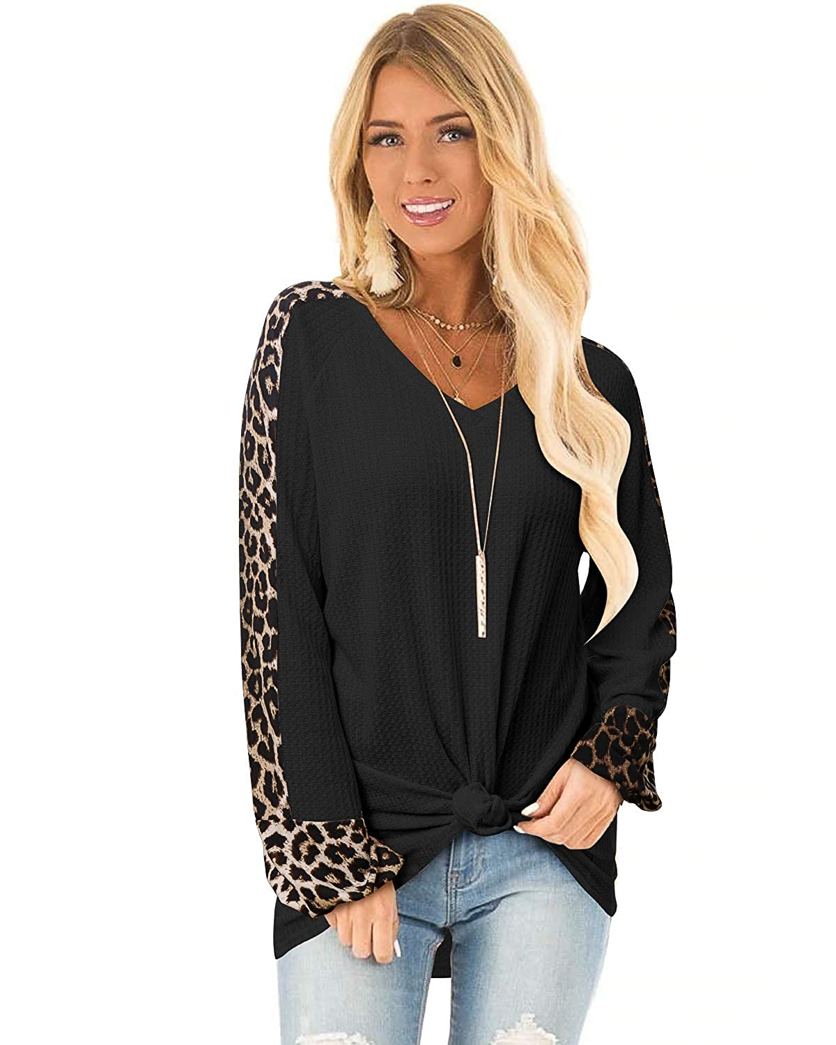 GIKING Women Leopard Patchwork Knited Blouse Long Sleeve Casual Tunic Tops
