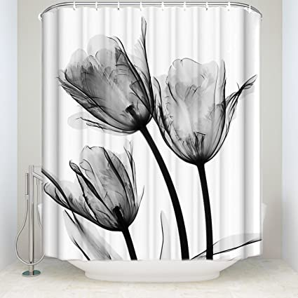 fcc4449d313 Image Unavailable. Image not available for. Color  Crystal Emotion Grey  Tulip Flowers Florals Shower Curtains ...