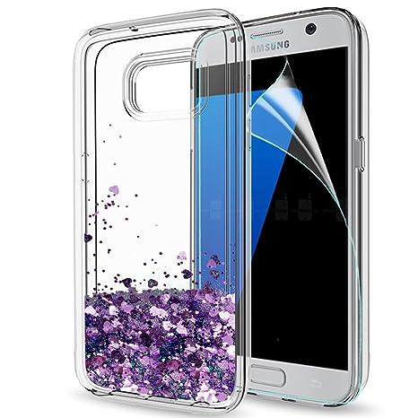 LeYi Funda Samsung Galaxy S7 Silicona Purpurina Carcasa con HD Protectores de Pantalla,Transparente Cristal Bumper Telefono Gel TPU Fundas Case Cover ...