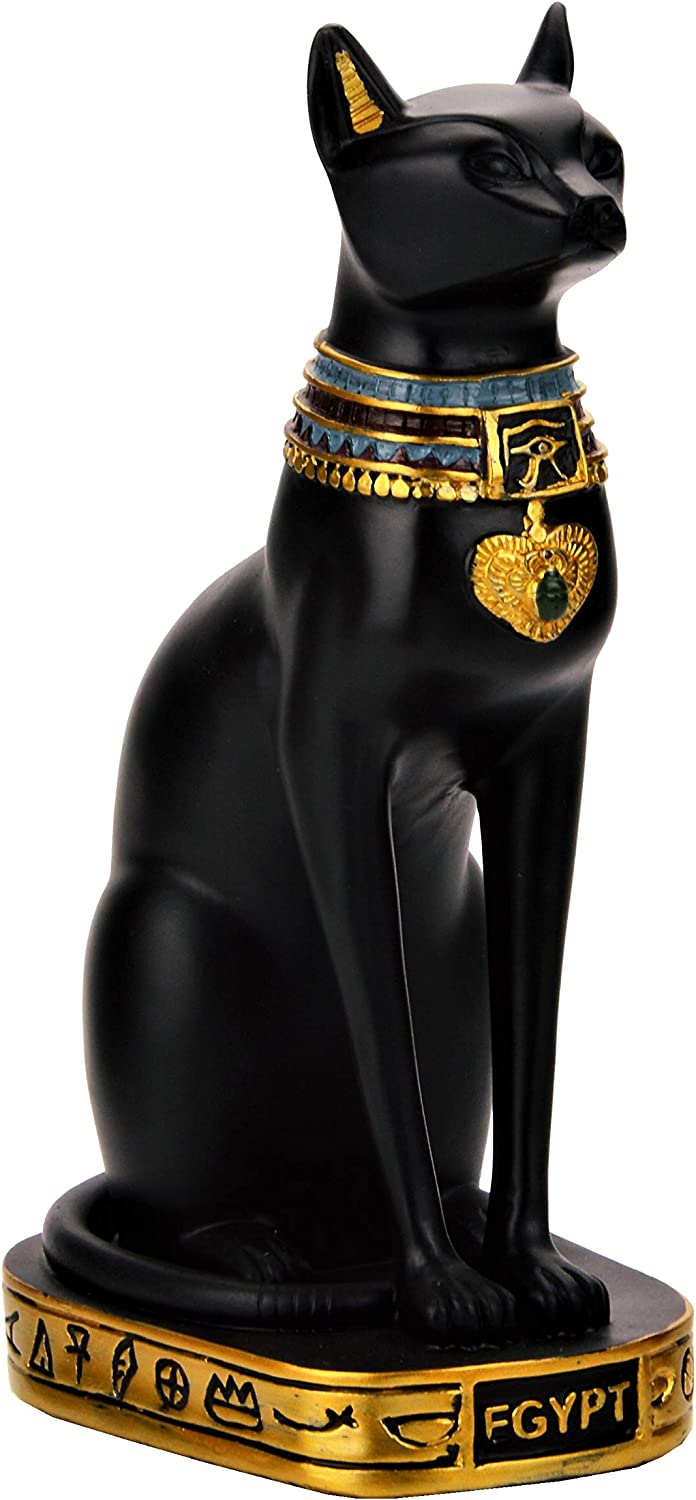 NileCart Egyptian Bastet Collectible Figurine Cat Goddess Statue - Made in Egypt (Large 7.5 inches Tall)