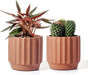 POTEY Cement Indoor Plant Pots - 4 Inch Medium Planter Flower Containers Clay Modern Decorative with Drain Hole - Set of 2 Terracotta, Unglazed 202221