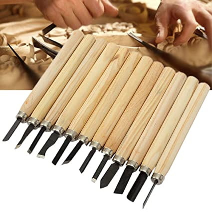 Best Garden Tools 12pcs Hand Wood Carving Chisels Knife appliance Set for Basic Woodcut performing Clay