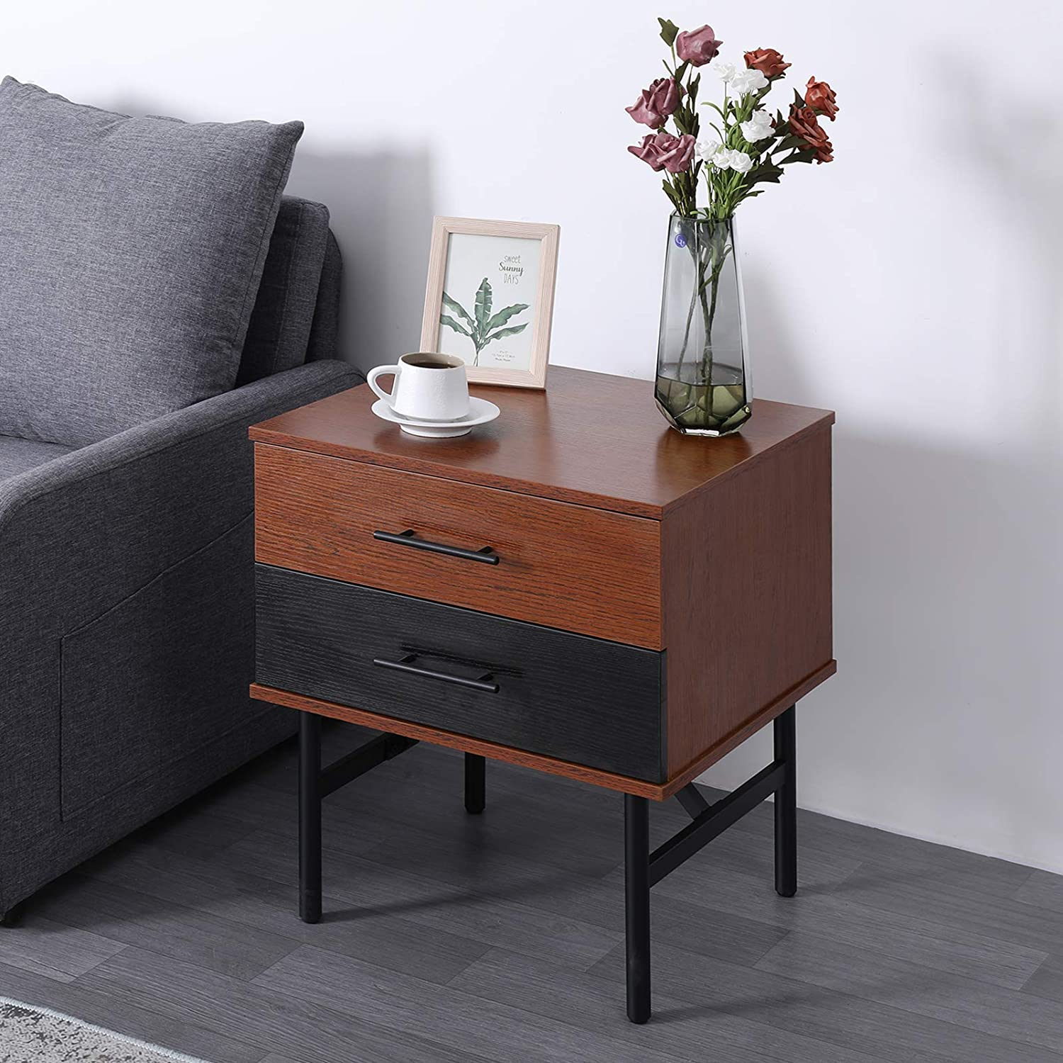 SCOZER End Table with 2 Drawer Storage, Side Table w Metal Leg, Mid-Century Nightstand Wood Look Accent Furniture Fine Decor, for Living Room Bedroom Narrow Small Spaces, Vintage Rustic Brown