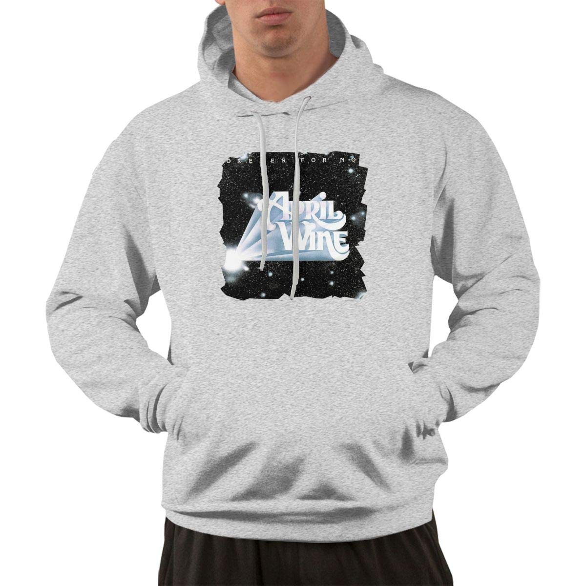 Erman S Pullover Comfortable Gray Print April Wine Logo Hooded Shirts With Pocket X