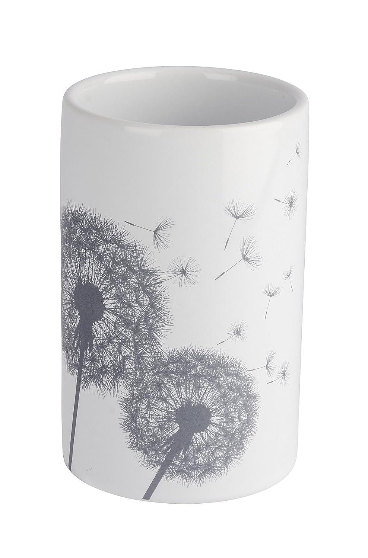 7/x 7/x 11/cm Color Blanco//Gris 22830100/ Wenko Vaso para cepillos de Dientes Astera de cer/ámica