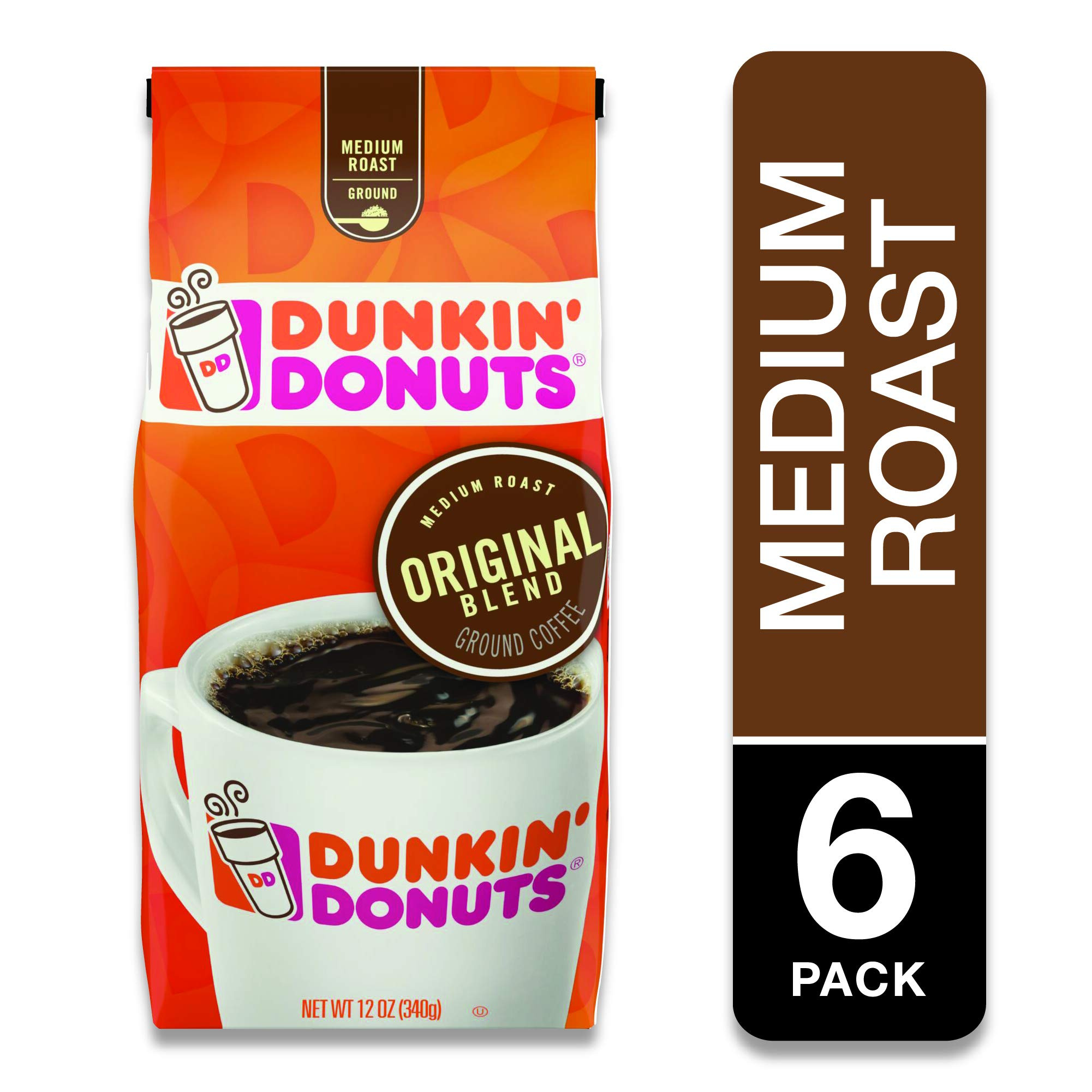 Dunkin' Donuts Original Blend Medium Roast Whole Bean Coffee, 12 Ounces (Pack of 6) by Dunkin'