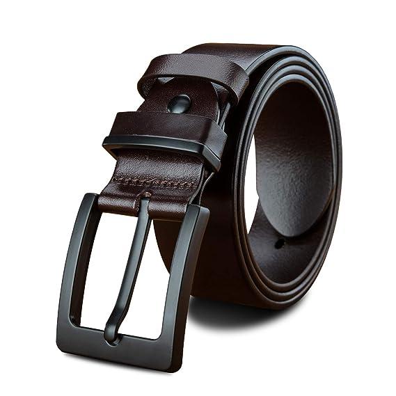 LUCIANO Elegante Vestido de Cuero Genuino de Piel de Vaca de Italia  Cinturones de Hebilla de Correa para Hombres BR-105  Amazon.es  Ropa y  accesorios b85cc34024d3