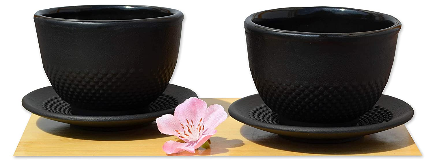 Cast iron black hobnail tea cup and round coaster X2 Gifts Of The Orient GOTO® 5060162543062