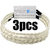 Shells White Color Elastic Stretch Synthetic Hair Braid Fashion Plaits Headband For Cosplay And Grandma Set of 3