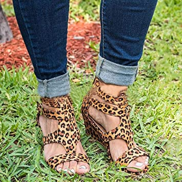 3d0f077247e5 Amazon.com: Yesyes Women Sandals Summer Wedges Leopard Casual Shoes Strap Gladiator  Roman Sandals: Sports & Outdoors