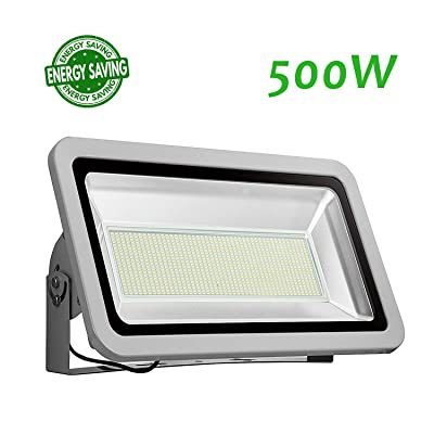 Hamosky 2020 New Craft 500W LED Flood Light Outdoor, IP65 Waterproof, 55000lm LED Work Light, LED Security Light, 6500K Cold White, Landscape Lighting Work for Garage, Garden, Lawn, Yard and Playground
