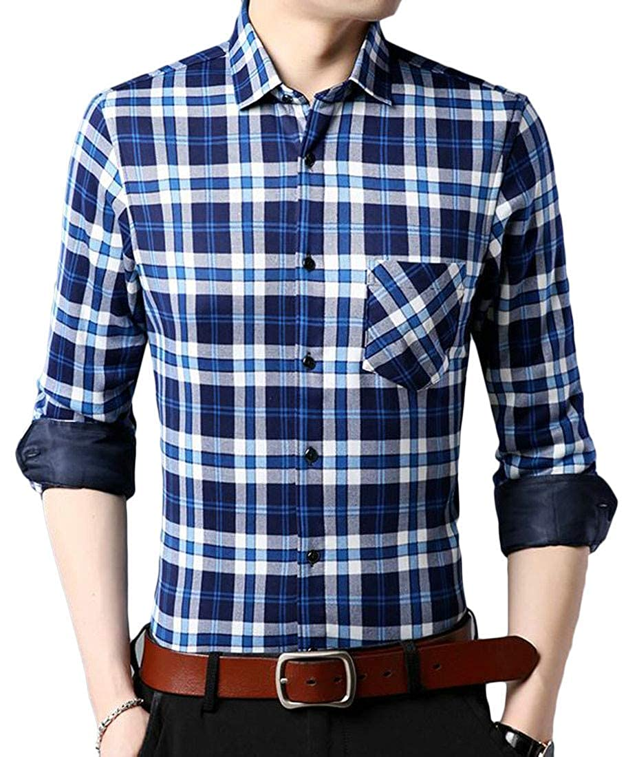 Joe Wenko Mens Winter Fleece Plaid Thicken Long Sleeve Button Front Shirts