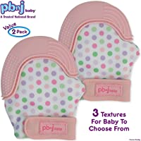 PBnJ baby Silicone Infant Teething Mitten Teether Glove Mitt Toy with Travel Bag Pink PBNJ-Teethee10
