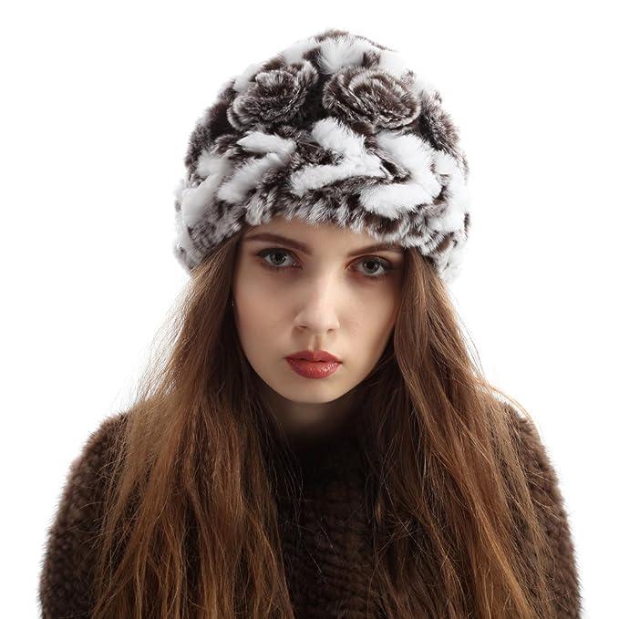 Vemolla Mujeres Fluffy Tejidos Rex Conejo Sombreros de Piel para el Invierno Blanco con café: Amazon.es: Ropa y accesorios