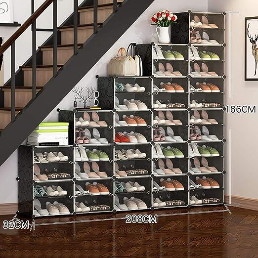 Armario De Almacenamiento Organizador, Unidades De Calzado Ahorro De Espacio, Estante De Zapatos Debajo De La Escalera, Ideal para Puerta De Entrada Pasillo Cuarto De Baño Salón Y Pasillo (Negro): Amazon.es: Hogar