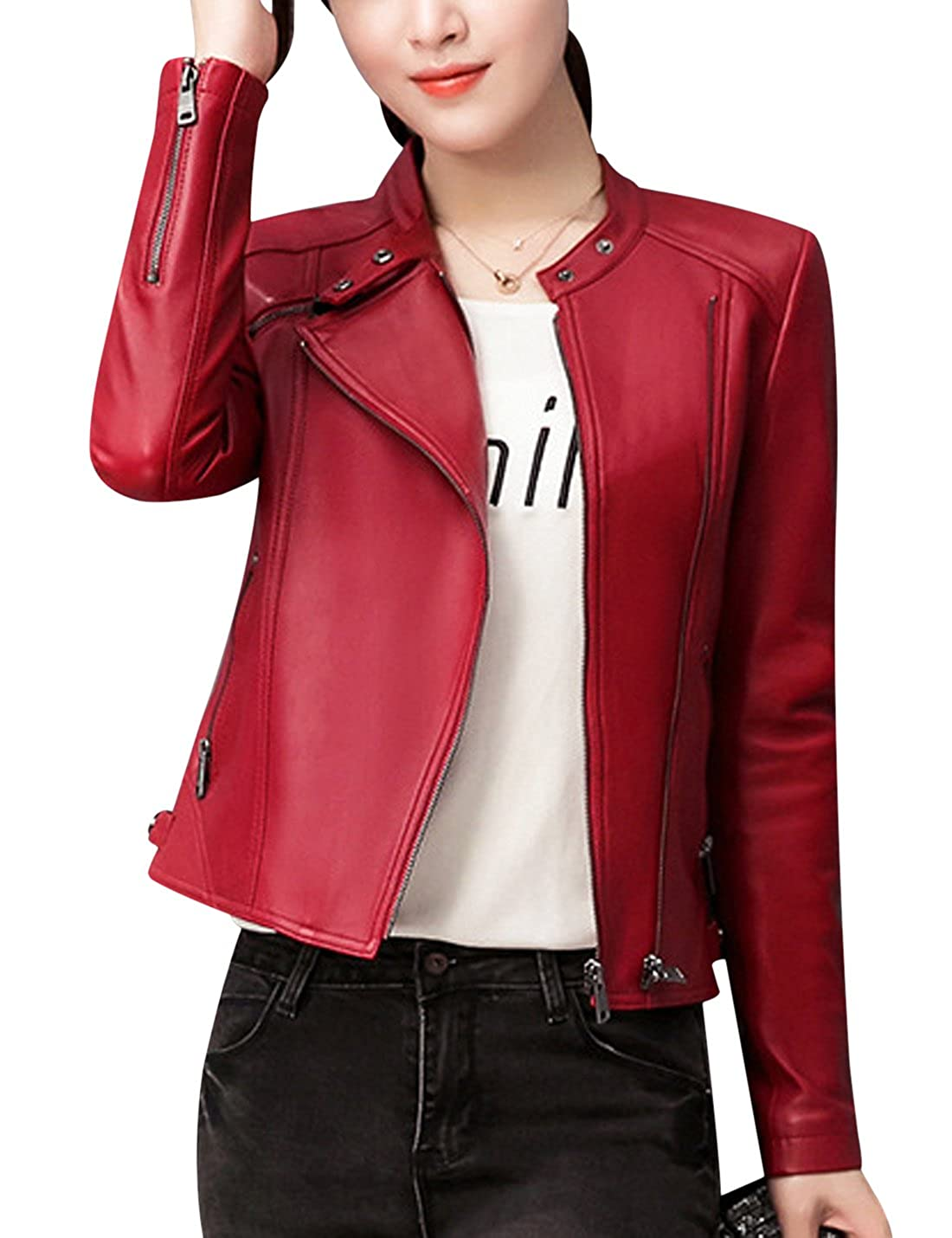 Uaneo Womens Round Neck Zip Up Faux PU Leather Bomber Jacket Outerwear