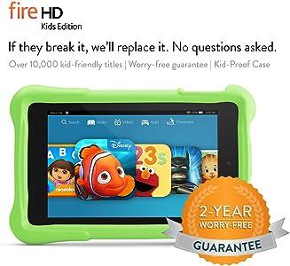 """Fire HD 6 Kids Edition Tablet, 6"""" HD Display, Wi-Fi, 8 GB, Green Kid-Proof Case"""