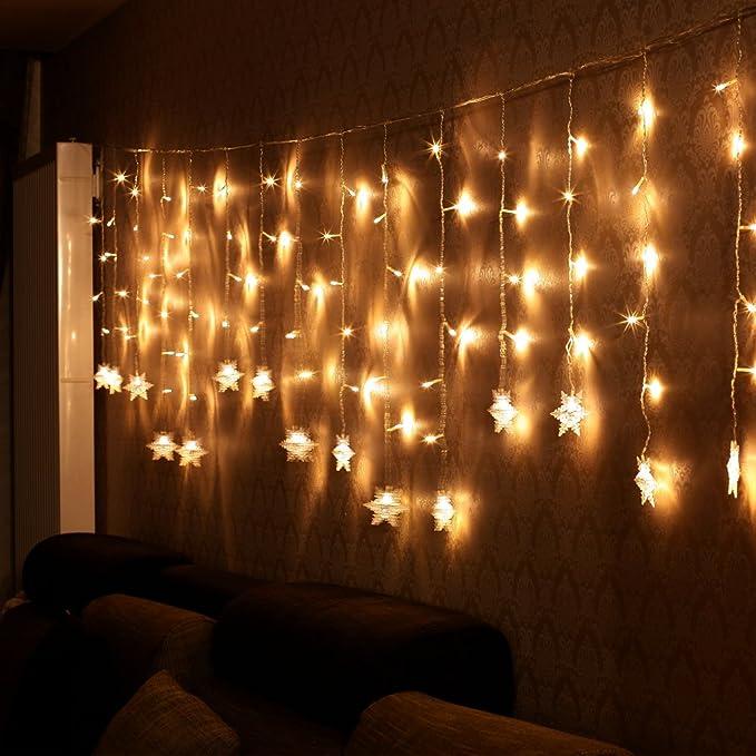 Cortina de Luces, LED Luces de Cortina, Cadena De Luces, Carámbano de Blanco Cálido con 8 Modos de Luz Perfecto para Decoración de Navidad, ...
