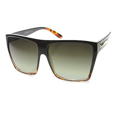 05cf07a517 Amazon.com  Large Oversized Retro Fashion Square Flat Top Sunglasses (Black  Tortoise Fade)  Clothing