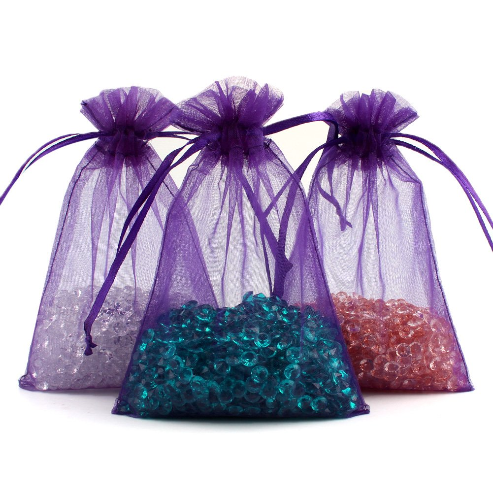 OurWarm 100pcs Organza Bags 4 x 6 Inch Gift Bags Organza Drawstring Pouch Jewelry Party Wedding Favor Candy Bags Purple