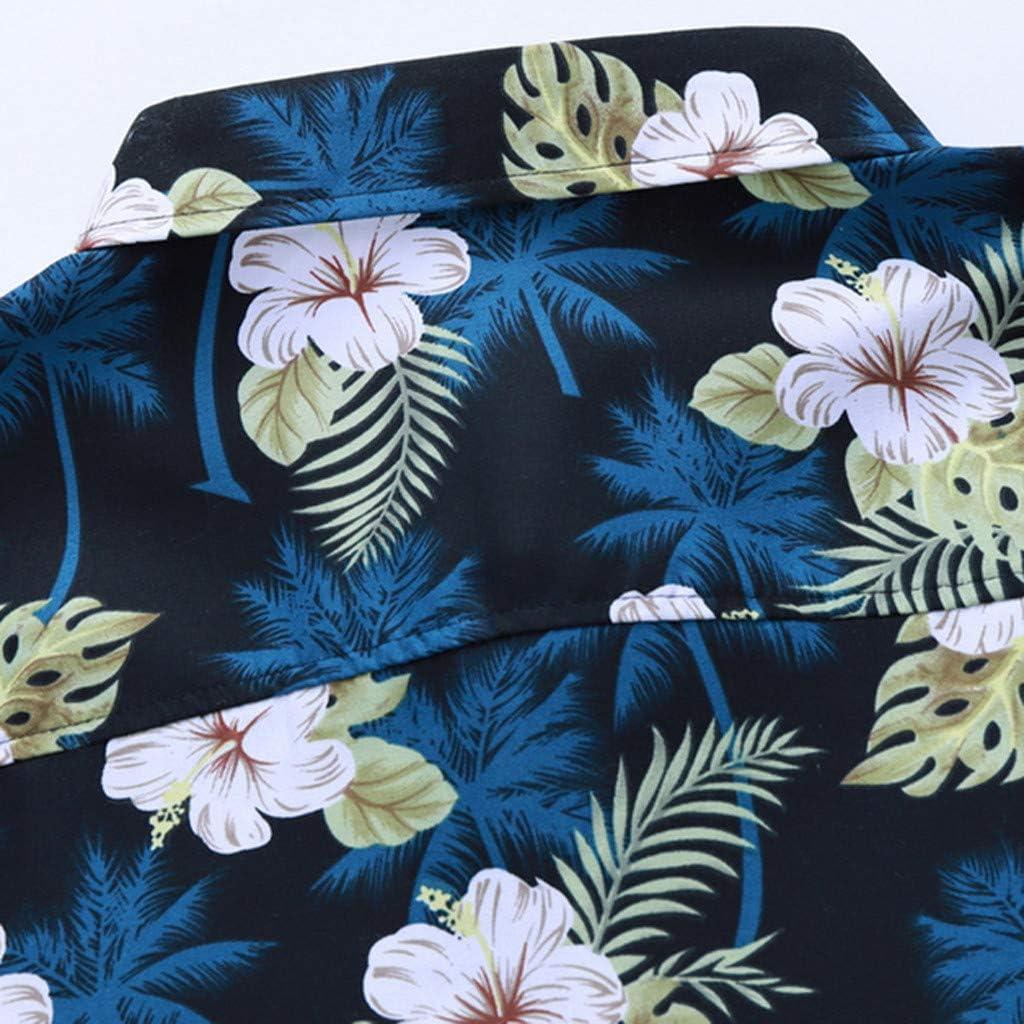 SDCSQ Mens Shirts Printed Hawaiian Patchwork Loose Short Sleeve Casual Holiday Button Top