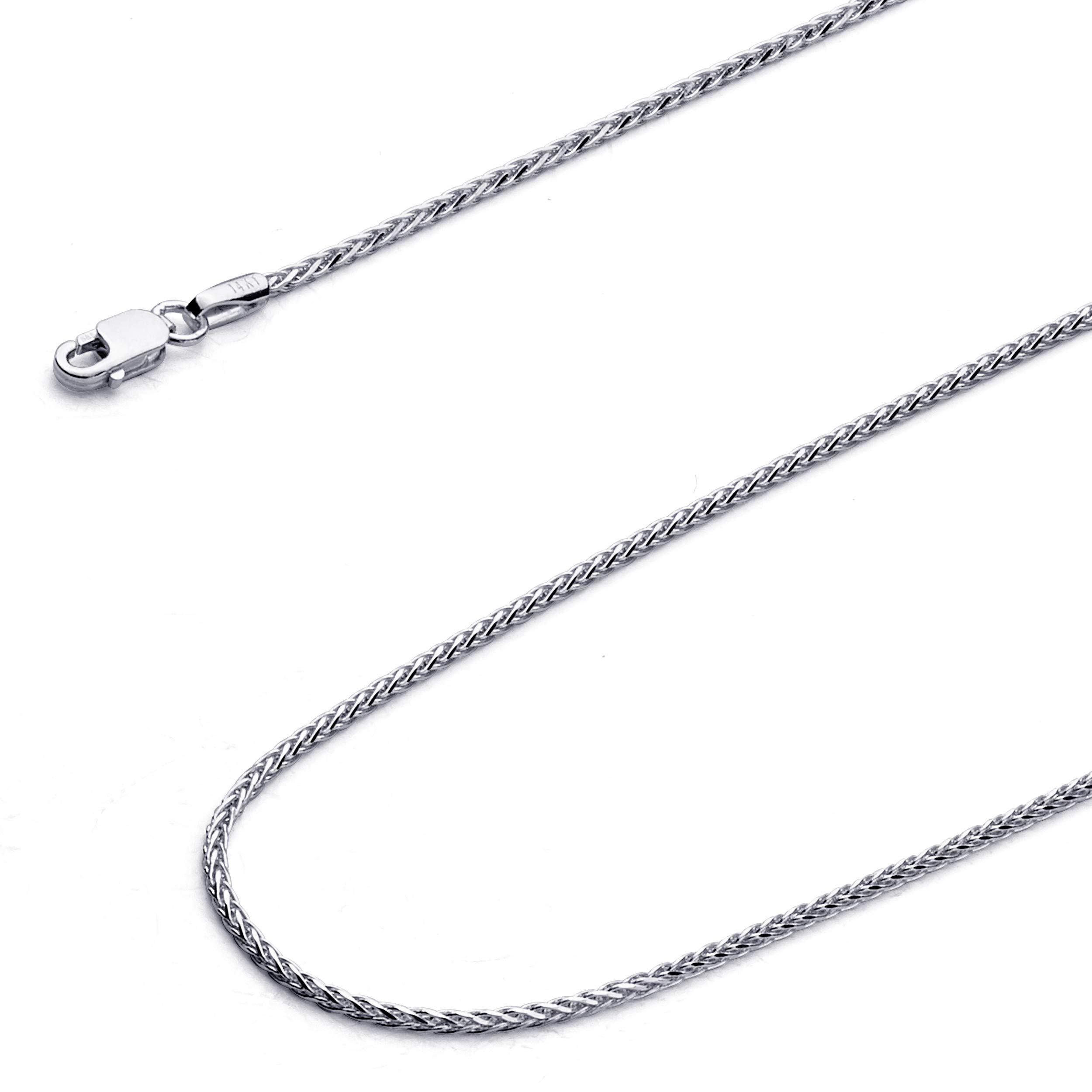 Wellingsale 14k White Gold 1mm Diamond Cut Round Wheat Chain Necklace with Lobster Claw Clasp - 16''
