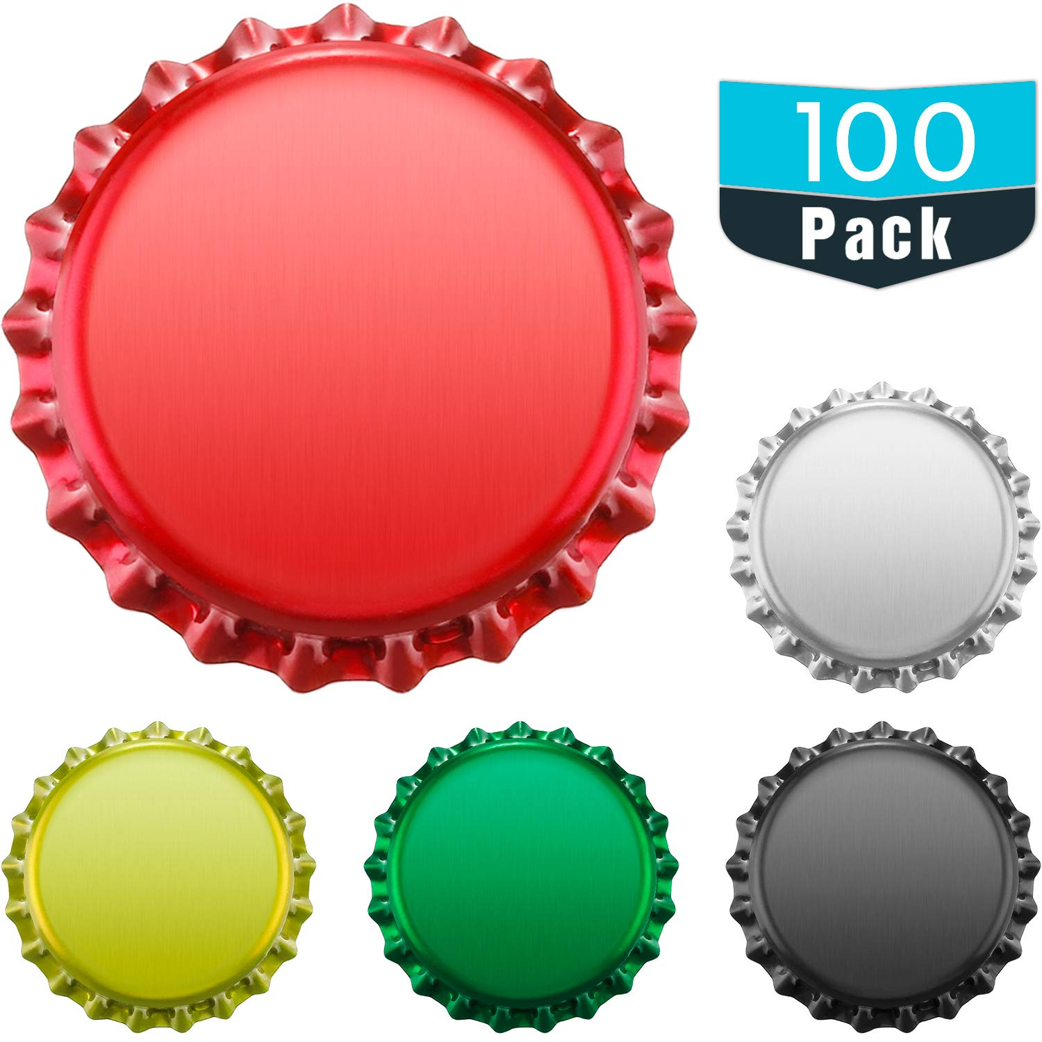 TecUnite 100 Pieces Beer Bottle Caps Oxygen Absorbing for HomeBrew, Crown Caps for Pry Off Bottles, Beer Map Caps, Craft Bottle Caps and Craft Supplies, 5 Colors