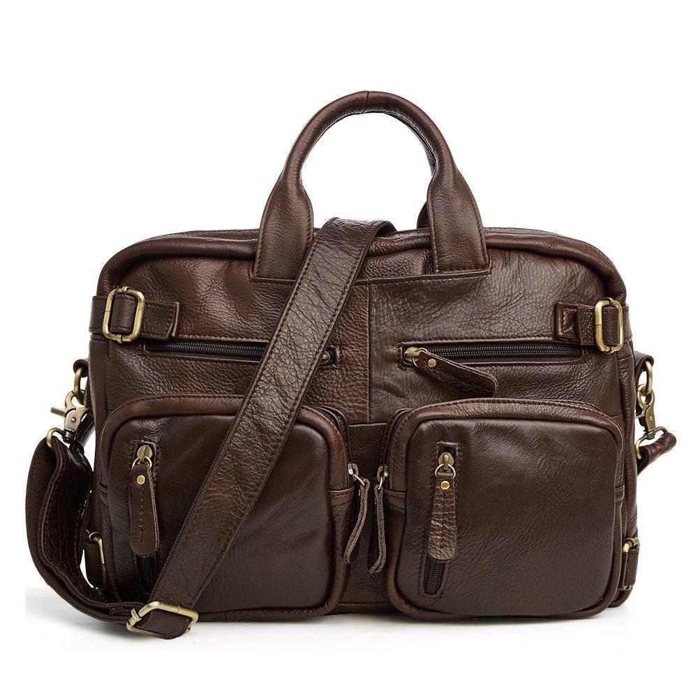 Multi-function Leather Briefcase 14 15 15.6 Inch Laptop Bag ,4 Colors, ACECLE Vintage Business Handbag Backpack