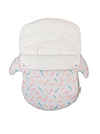 Baby Bites ORIGINAL - Saco GRIS CLARO para silla grupo 0, estampado SARDINAS