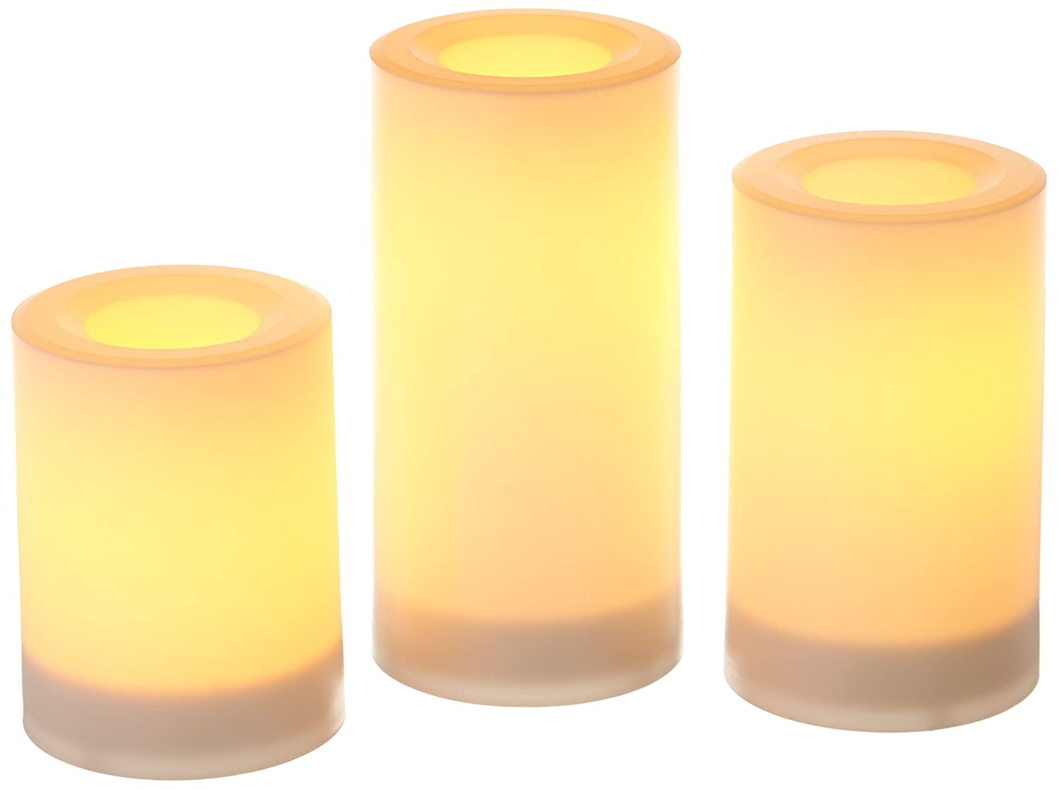 Set of 3 Adamax CGT20335WH3 White Inglow Flameless Round Outdoor Candles with Timer