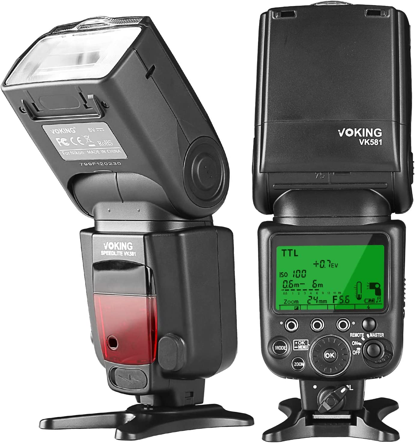 Voking VK581C TTL High Speed Sync Master Camera Flash Speedlite for Canon EOS 70D 77D 80D Rebel T7i T6i T6s T6 T5i T5 T4i T3i and so on