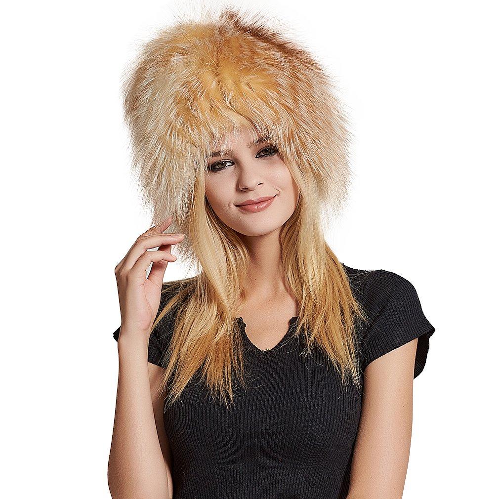 Fur Story Women's Real Fox Fur Skullies Beanie Hat Elastic Warm Winter Hats Gold Fox by Fur Story (Image #1)