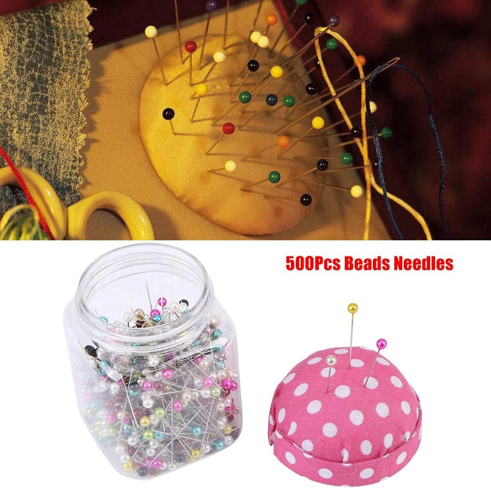Beads Needles Quilting Pins College Project,1 x 500pcs//bot Asixx 500Pcs Beads Needles Quilting Pins in Pink Fabric Covered Pin Cushion Bottle Sewing Craft,Perfect for Crafting Quilting Pins Sewing