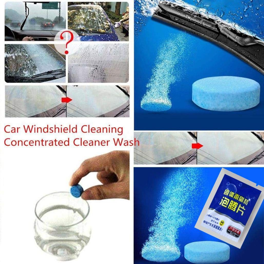 Inverlee Car Windshield Glass Clean Washer Tablets Effervescent Tablets Detergent Car Window Cleaner Cleaning Tool (1Bag Including 1Pcs) (10Pcs)