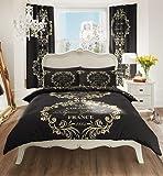 New Script Duvet Quilt Cover Bedding Sets With Pillowcase Single,Double,King (King, Paris Black)