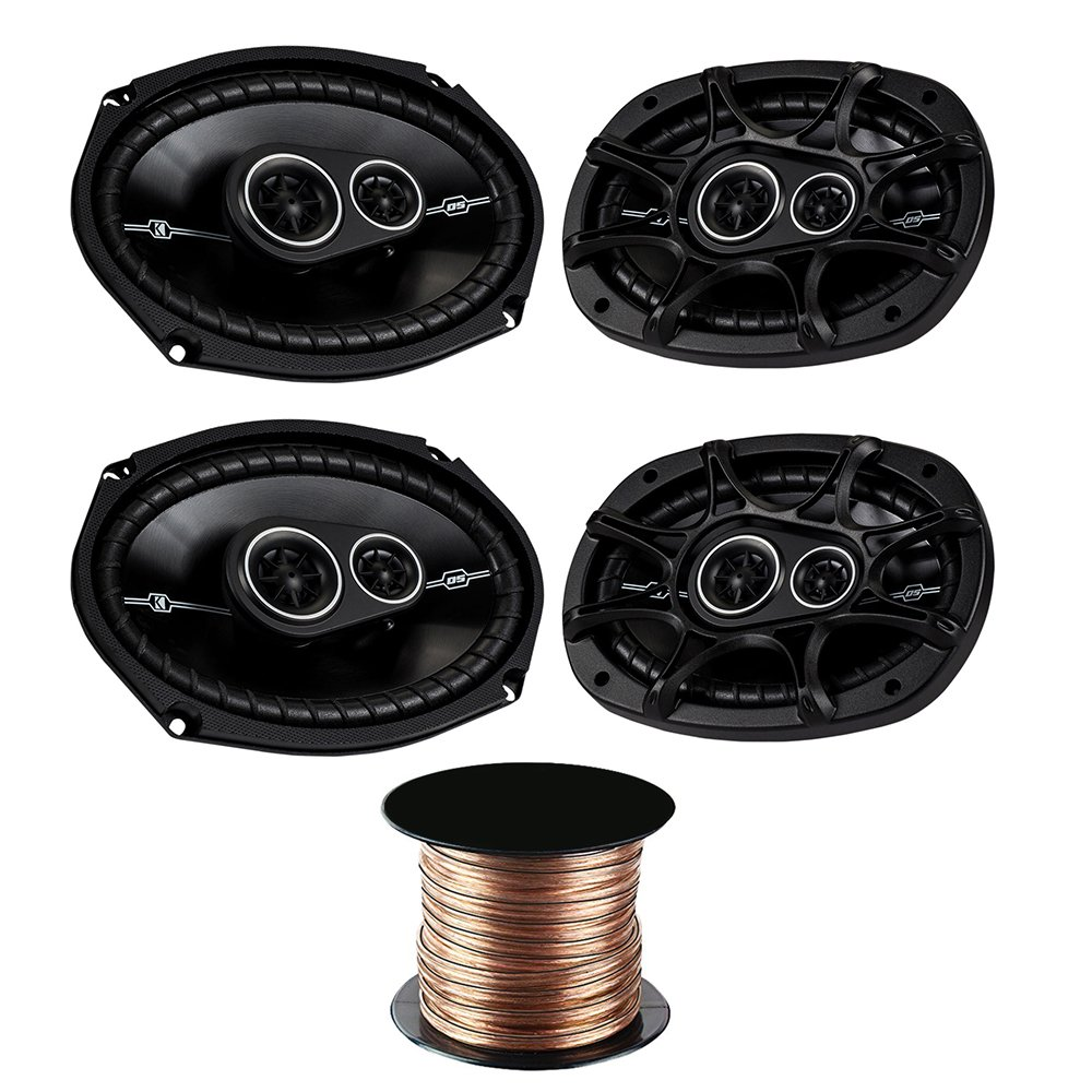(2X) Kicker DSC6934 6''x9'' 3-way Speakers with 50 Feet 18 Gauge Speaker Wire