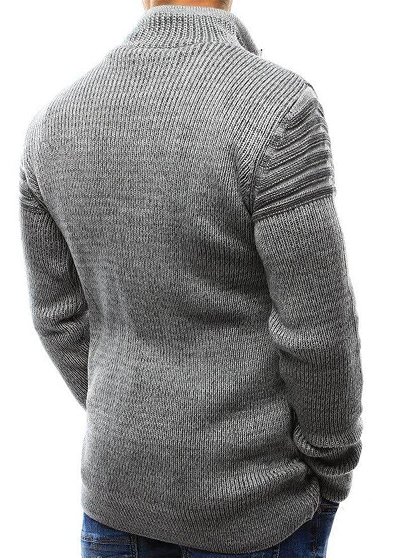Spirio Mens Ripped Drawstring Zip-Up Stylish Knitwear Pullover Sweater