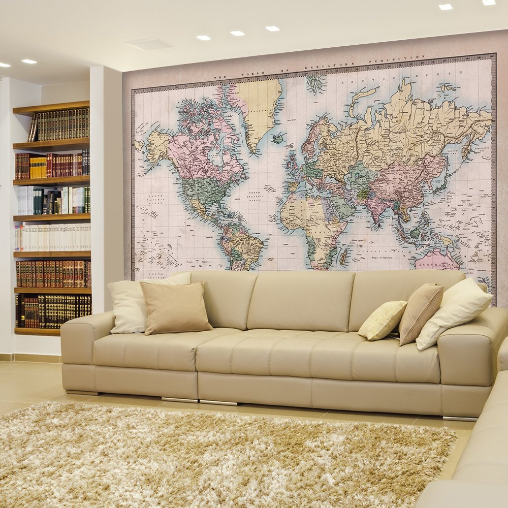 wall26 - Antique Full Color Mercator Projection Political Map of The World Illustration - Wall Mural, Removable Sticker, Home Decor - 100x144 inches by wall26 (Image #2)