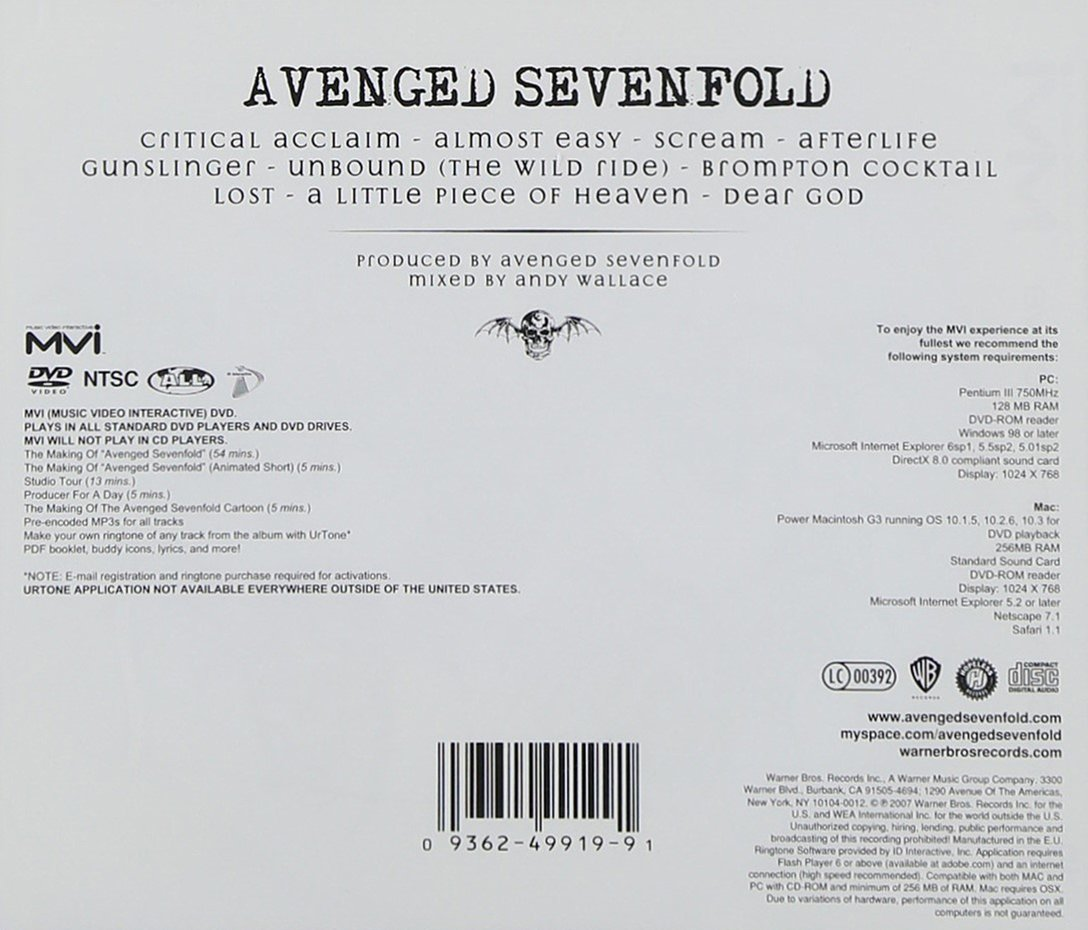 avenged sevenfold discography download rar