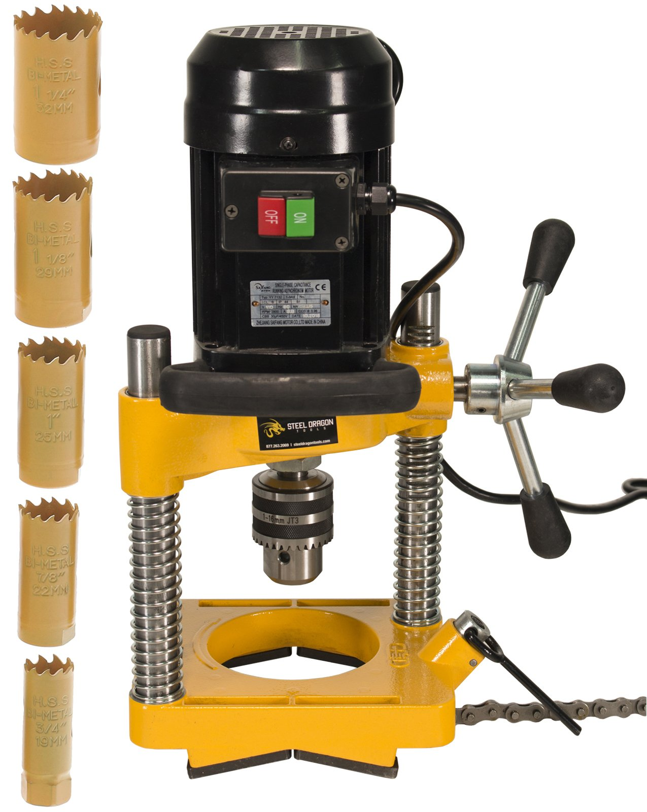 Steel Dragon Tools JK114 Pipe Hole Cutter with 6 Piece Cutter Set up to 1-1/4''