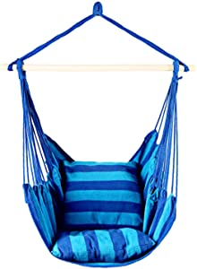 EverKing Hanging Rope Hammock Chair Porch Swing Seat, Large Hammock Net Chair Swing, Cotton Rope Porch Chair for Indoor, Outdoor, Garden, Patio, Porch, Yard - 2 Seat Cushions Included (Blue Stripe)