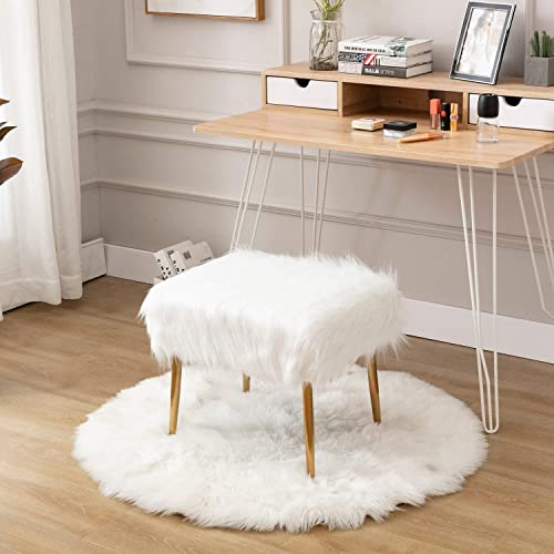 Wahson Shaggy Faux Fur Upholstered Square Accent Ottoman Footrest, Cute Fluffy Vanity Stool, for Living Room, Bedroom, Bathroom, Den, Kids Study Room, 20 W X 16 D, White