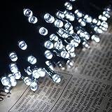 200 luci della stringa solare del LED, impermeabile illuminazione Fata esterno per Natale, Casa, Giardino, Cortile, Patio, Portico, Albero, Partito, Decorazione di Festa,22M, 8 Modalità (Bianco)