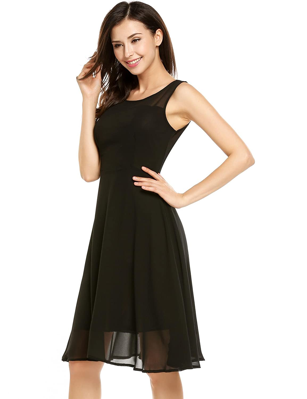 821167f5bdd1 Meharbour Little Black Dress Chiffon Dresses for Women Party Wedding  Sleeveless Dresses for Juniors Dresses at Amazon Women's Clothing store: