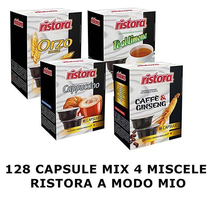 Mix Capsule Ristora 4 Miscele Compatibile Lavazza A Modo Mio 128