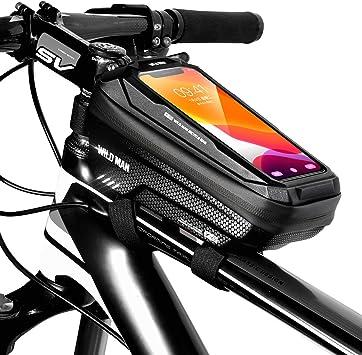 TEUEN Bolsa Bicicleta Impermeable Bolsa Movil Bici con Ventana para Pantalla Táctil, Bolsa para Cuadro Bicicleta Montaña para Smartphones de hasta ...