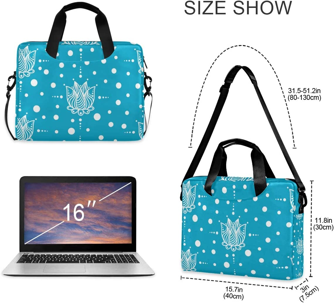 Laptop Shoulder Bag Carrying Briefcase Handbag Sleeve Case Blue Background with White Flowers 0323007 Cute Laptop Cases 15.6 for Women